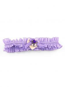 Trachten Strumpfband Karo lila