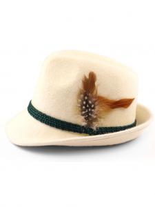 Trachtenhut mit Feder natur weiß