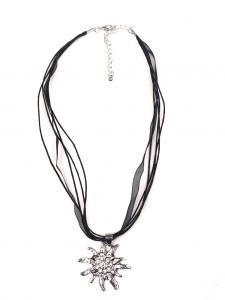 Trachten Halskette Edelweiss Strass schwarz