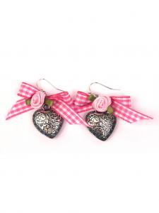 Trachten Schmuck Ohrringe Paar Herz rosa