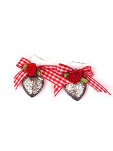 Trachten Schmuck Ohrringe Paar Herz rot