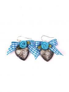 Trachten Schmuck Ohrringe Paar Herz türkis