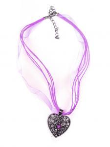 Trachten Halskette Herz Strass lila