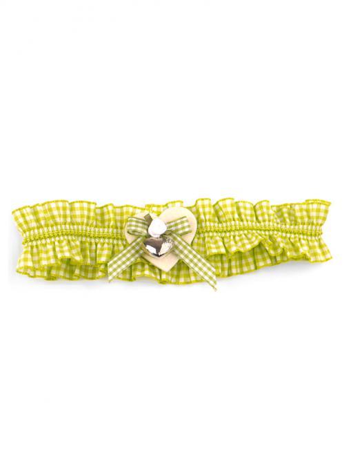 Trachten Strumpfband Karo hellgrün