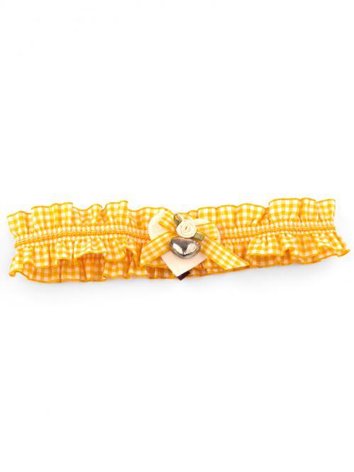 Trachten Strumpfband Karo gelb