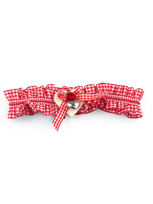 Trachten Strumpfband Karo rot