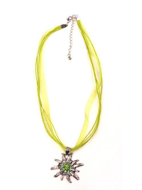 Trachten Halskette Edelweiss Strass grün