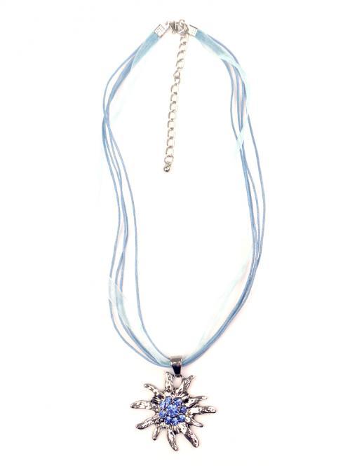 Trachten Halskette Edelweiss Strass hellblau
