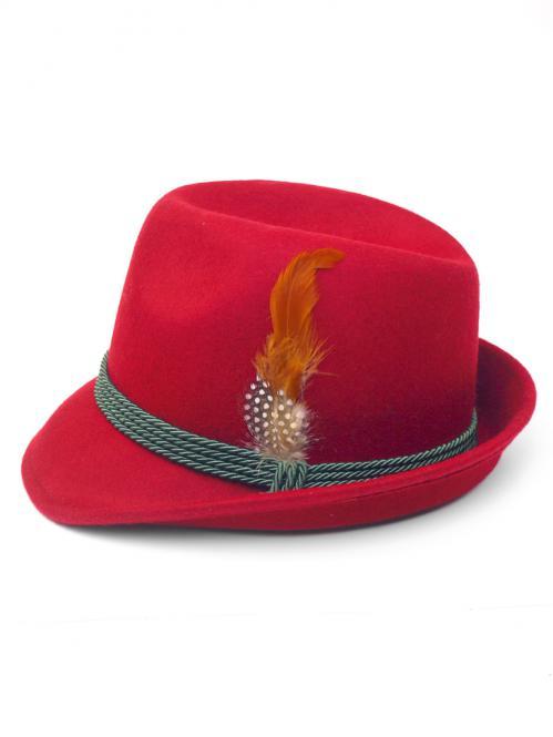 Trachtenhut mit Feder rot