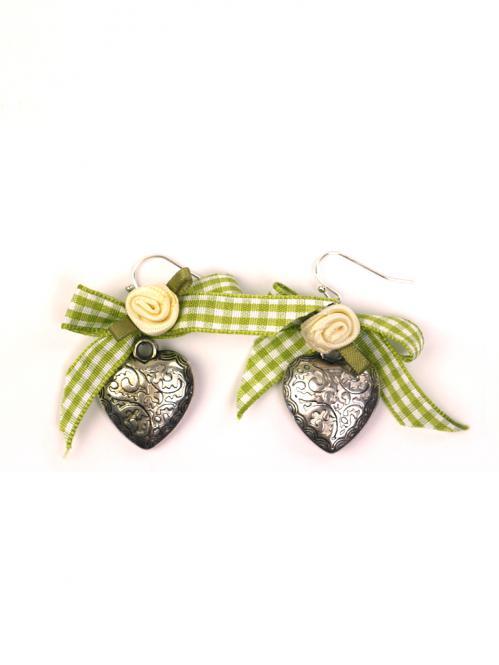 Trachten Schmuck Ohrringe Paar Herz grün