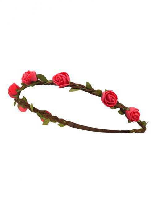 Trachten Haarband Rose Leder rot