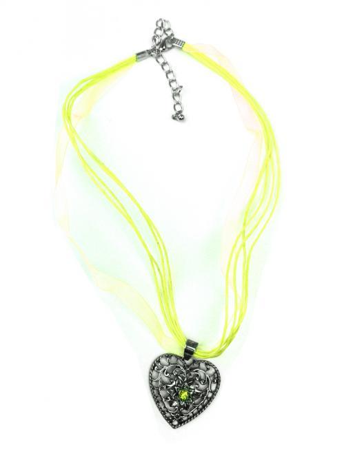 Trachten Halskette Herz Strass apfelgrün