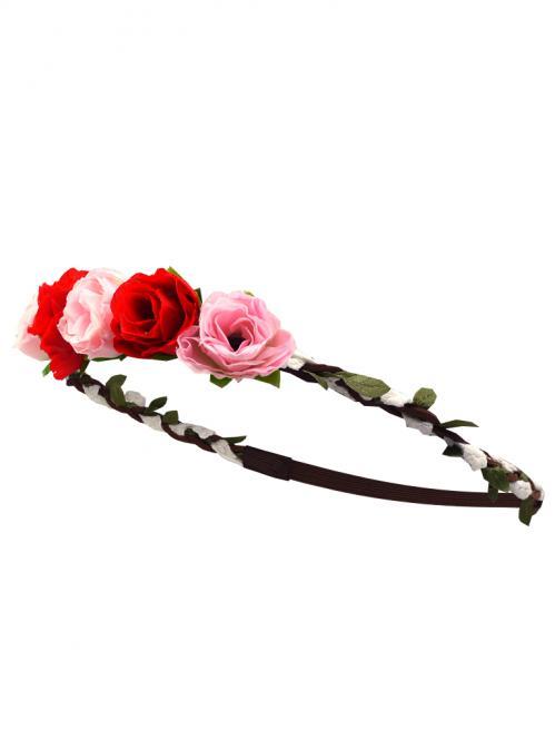 Trachten Haarband Rose Leder / Spitze